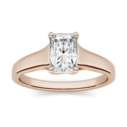 0.70 CTW DEW Radiant Forever One Moissanite Solitaire Engagement Ring 14K Rose Gold