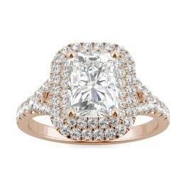 2.32 CTW DEW Radiant Forever One Moissanite Double Halo with Side Accents Engagement Ring 14K Rose Gold