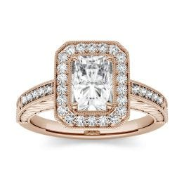 1.52 CTW DEW Radiant Forever One Moissanite Halo with Side Accents Engagement Ring 14K Rose Gold
