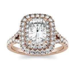 1.17 CTW DEW Radiant Forever One Moissanite Double Halo with Side Accents Engagement Ring 14K Rose Gold