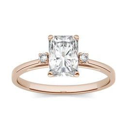 0.74 CTW DEW Radiant Forever One Moissanite Solitaire with Side Accents Engagement Ring 14K Rose Gold