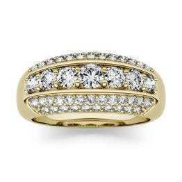 1.26 CTW DEW Round Forever One Moissanite Five Row Anniversary Band Ring 14K Yellow Gold