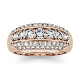 1.26 CTW DEW Round Forever One Moissanite Five Row Anniversary Band Ring 14K Rose Gold