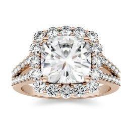 4.26 CTW DEW Cushion Forever One Moissanite Split Shank Engagement Ring 14K Rose Gold