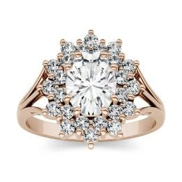 1.98 CTW DEW Oval Forever One Moissanite Floral Cluster Fashion Ring 14K Rose Gold