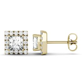 1.92 CTW DEW Square Forever One Moissanite Halo Earrings 14K Yellow Gold