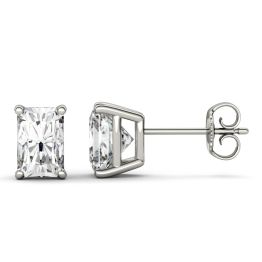 2.40 CTW DEW Radiant Forever One Moissanite Four Prong Stud Earrings 14K White Gold