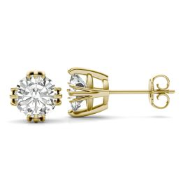 2.40 CTW DEW Round Forever One Moissanite Solitaire Stud Earrings 14K Yellow Gold