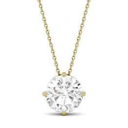 3.27 CTW DEW Round Forever One Moissanite Solitaire Pendant Necklace 14K Yellow Gold
