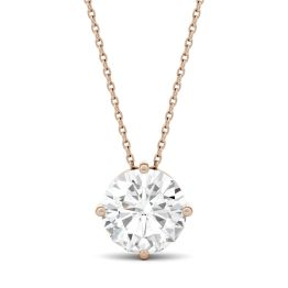 3.10 CTW DEW Round Forever One Moissanite Solitaire Stud Necklace 14K Rose Gold