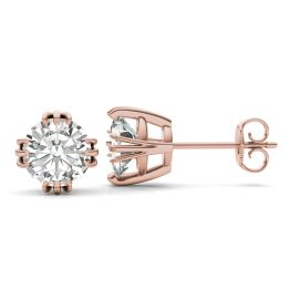 2.40 CTW DEW Round Forever One Moissanite Solitaire Stud Earrings 14K Rose Gold