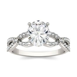 1.77 CTW DEW Oval Forever One Moissanite Solitaire with Side Stones Ring 14K White Gold