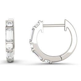 0.64 CTW DEW Straight Baguette Forever One Moissanite Hoop Earrings 14K White Gold