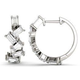 1.62 CTW DEW Straight Baguette Forever One Moissanite Fashion Hoop Earrings 14K White Gold