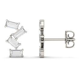 0.93 CTW DEW Straight Baguette Forever One Moissanite Fashion Stud Earrings 14K White Gold