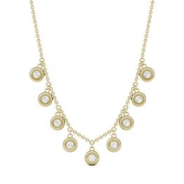 0.27 CTW DEW Round Forever One Moissanite Bezel Station Necklace 14K Yellow Gold