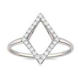 0.12 CTW DEW Round Forever One Moissanite Geometric Fashion Ring 14K White Gold