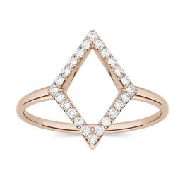 0.12 CTW DEW Round Forever One Moissanite Geometric Fashion Ring 14K Rose Gold