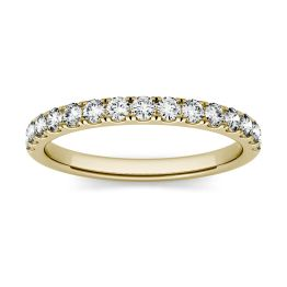 0.37 CTW DEW Round Forever One Moissanite Shared Prong Band Ring 14K Yellow Gold, SIZE 6.0