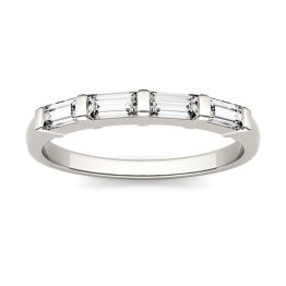 0.46 CTW DEW Straight Baguette Forever One Moissanite Four Stone Wedding Band Ring 14K White Gold, SIZE 5.0