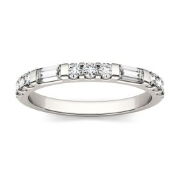 0.50 CTW DEW Straight Baguette Forever One Moissanite Multi Stone Channel Set Wedding Band Ring 14K White Gold, SIZE 5.0