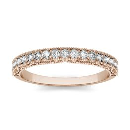 0.28 CTW DEW Round Forever One Moissanite Milgrain Band with Detailed Borders Ring 14K Rose Gold