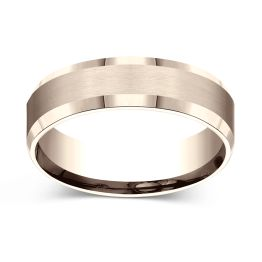 Satin Finish Center with Beveled Edges 6.0mm Ring 14K Rose Gold