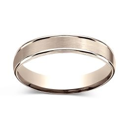 Satin Finish Center with Round Grooved Edges 4.0mm Ring 14K Rose Gold