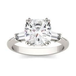2.77 CTW DEW Cushion Forever One Moissanite Three Stone Engagement Ring 14K White Gold