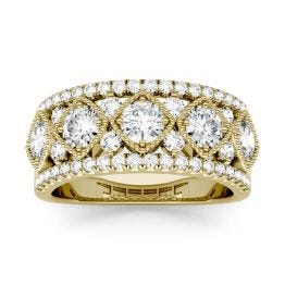 1.79 CTW DEW Round Forever One Moissanite Shared Prong Filigree Band Ring 14K Yellow Gold