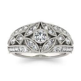 0.77 CTW DEW Round Forever One Moissanite Milgrain Fashion Ring 14K White Gold