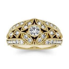 0.77 CTW DEW Round Forever One Moissanite Milgrain Fashion Ring 14K Yellow Gold