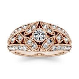0.77 CTW DEW Round Forever One Moissanite Milgrain Fashion Ring 14K Rose Gold