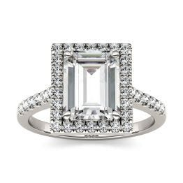 2.97 CTW DEW Emerald Forever One Moissanite Halo with Side Accents Engagement Ring 14K White Gold