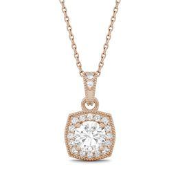 0.74 CTW DEW Round Forever One Moissanite Milgrain Halo Necklace 14K Rose Gold
