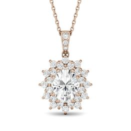 2.04 CTW DEW Oval Forever One Moissanite Floral Cluster Pendant Necklace 14K Rose Gold