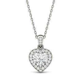 0.95 CTW DEW Heart Forever One Moissanite Bezel Set Halo Pendant Necklace 14K White Gold