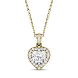 0.95 CTW DEW Heart Forever One Moissanite Bezel Set Halo Pendant Necklace 14K Yellow Gold