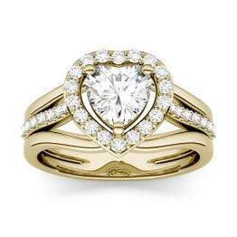 1.21 CTW DEW Heart Forever One Moissanite Split Shank Halo with Side Accents Engagement Ring 14K Yellow Gold