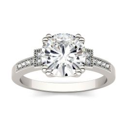 1.96 CTW DEW Round Forever One Moissanite Milgrain Solitaire with Side Accents Ring 14K White Gold