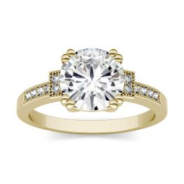 1.96 CTW DEW Round Forever One Moissanite Milgrain Solitaire with Side Accents Ring 14K Yellow Gold