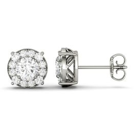 1.32 CTW DEW Round Forever One Moissanite Halo Four Prong Stud Earrings 14K White Gold