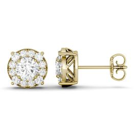 1.32 CTW DEW Round Forever One Moissanite Halo Four Prong Stud Earrings 14K Yellow Gold