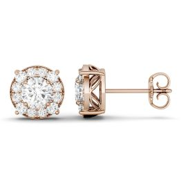 1.32 CTW DEW Round Forever One Moissanite Halo Four Prong Stud Earrings 14K Rose Gold