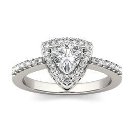 1.26 CTW DEW Trillion Forever One Moissanite Halo with Side Accents Engagement Ring 14K White Gold