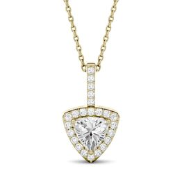 1.18 CTW DEW Trillion Forever One Moissanite Halo Pendant Necklace 14K Yellow Gold