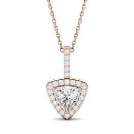 1.18 CTW DEW Trillion Forever One Moissanite Halo Pendant Necklace 14K Rose Gold