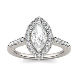1.36 CTW DEW Marquise Forever One Moissanite Halo with Side Accents Engagement Ring 14K White Gold