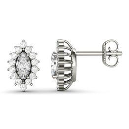 1.32 CTW DEW Marquise Forever One Moissanite Halo Stud Earrings 14K White Gold