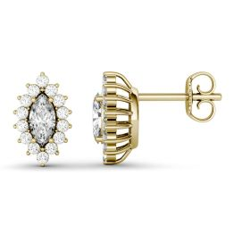 1.32 CTW DEW Marquise Forever One Moissanite Halo Stud Earrings 14K Yellow Gold